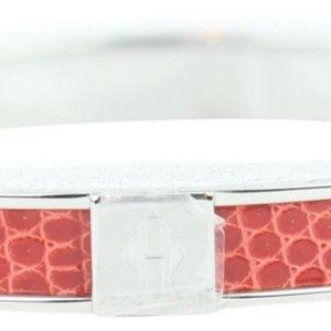 Hermès  Coral Red Lizard H Logo Kawaii 07 Bangle